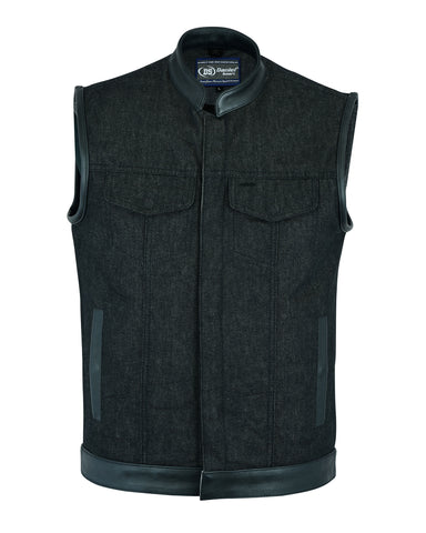 Men's Rough Rub-Off Raw Finish Denim Vest W/Leather Trim - Scoop Collar