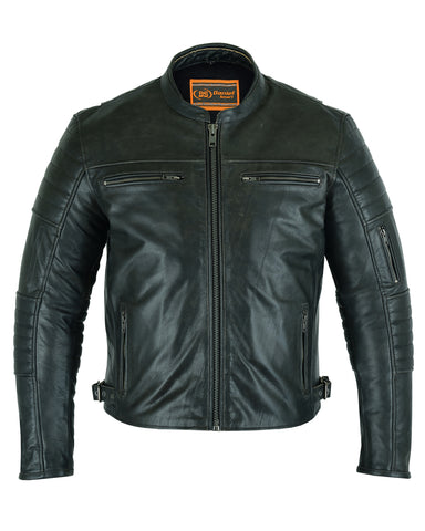 DS754 Men's Modern Crossover Scooter Jacket- Vintage Brown