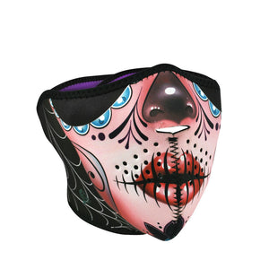 ZAN Half Mask- Neoprene- Sugar Skull Reversible to Purp