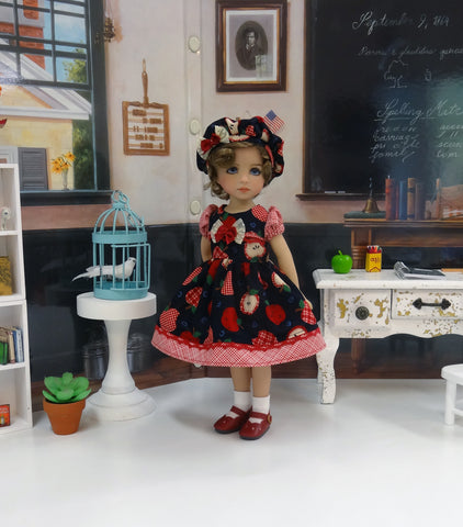 A is for Apple - dress, hat, socks & shoes for Little Darling Doll or 33cm BJD
