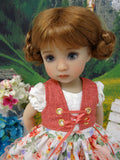Alpen Rose - dirndl ensemble with tights & boots for Little Darling Doll or 33cm BJD