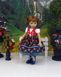 Alpine Autumn - dirndl ensemble with tights & boots for Little Darling Doll or 33cm BJD