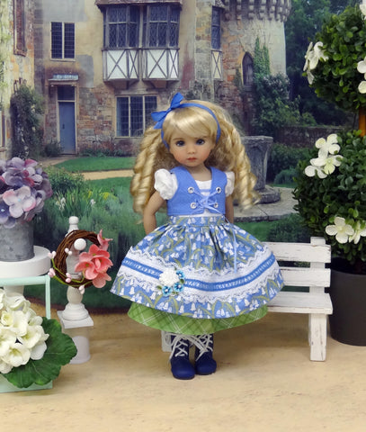 Alpine Bluebells - dirndl ensemble with tights & boots for Little Darling Doll or 33cm BJD