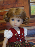 Alpine Briar Patch - dirndl ensemble with tights & boots for Little Darling Doll or 33cm BJD