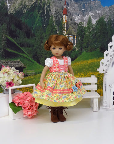 Alpine Fields - dirndl ensemble with tights & boots for Little Darling Doll or 33cm BJD