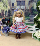 Alpine Garden - dirndl ensemble with tights & boots for Little Darling Doll or 33cm BJD