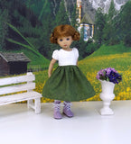 Alpine Lilacs - dirndl ensemble with tights & boots for Little Darling Doll or 33cm BJD