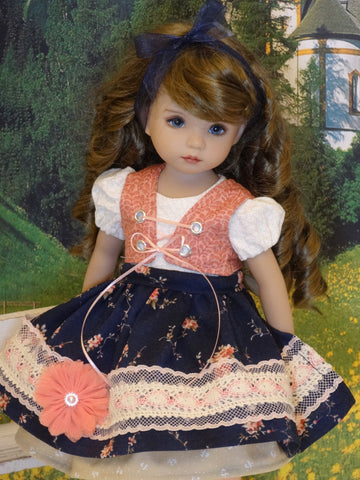 Alpine Meadow - dirndl ensemble with tights & boots for Little Darling Doll or 33cm BJD