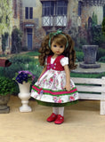 Alpine Paisley - dirndl ensemble with tights & shoes for Little Darling Doll or 33cm BJD