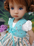 Alpine Rosebud - dirndl ensemble with tights & boots for Little Darling Doll or 33cm BJD