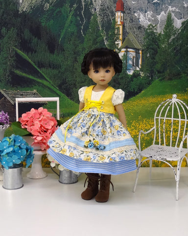 Alpine Summer - dirndl ensemble with tights & boots for Little Darling Doll or 33cm BJD