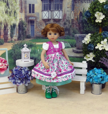 Alpine Sweet Pea - dirndl ensemble with tights & boots for Little Darling Doll or 33cm BJD