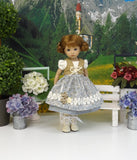 Alpine Wildflowers - dirndl ensemble with tights & boots for Little Darling Doll or 33cm BJD