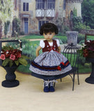 Alpsee Rosebuds - dirndl ensemble with tights & boots for Little Darling Doll or 33cm BJD