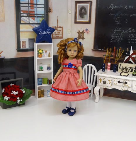 American Butterfly - dress, tights & shoes for Little Darling Doll or 33cm BJD