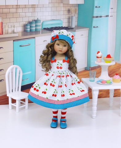 American Cherry - dress, hat, tights & shoes for Little Darling Doll or 33cm BJD
