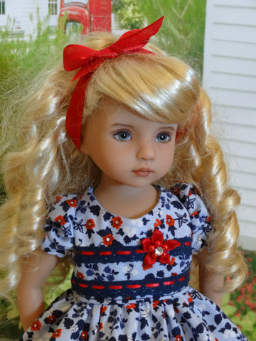 American Floral - dress, tights & shoes for Little Darling Doll