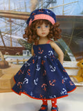 Anchors Away - dress, hat, tights & shoes for Little Darling Doll