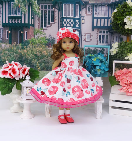 Apple Orchard - dress, hat, socks & shoes for Little Darling Doll or 33cm BJD