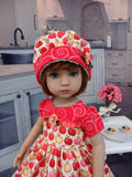 Apple Pie - dress, hat, tights & shoes for Little Darling Doll or other 33cm BJD