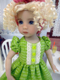 Apple Slices - dress & apron ensemble with tights & shoes for Little Darling Doll or 33cm BJD