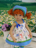 April Showers - babydoll top, bloomers, kerchief & sandals for Little Darling Doll