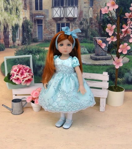Aqua Mist - dress, slip, tights & shoes for Little Darling Doll or 33cm BJD