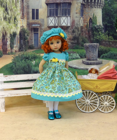 Aquamarine Garden - dress, hat, tights & shoes for Little Darling Doll or 33cm BJD