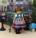 Austrian Aviary - dirndl ensemble with tights & boots for Little Darling Doll or 33cm BJD