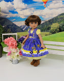 Austrian Beauty - dirndl ensemble with tights & boots for Little Darling Doll or 33cm BJD