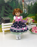 Austrian Valley  - dirndl ensemble with tights & boots for Little Darling Doll or 33cm BJD
