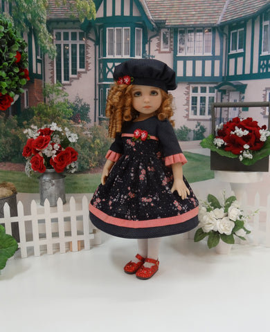 Autumn at Midnight - dress, hat, tights & shoes for Little Darling Doll or 33cm BJD