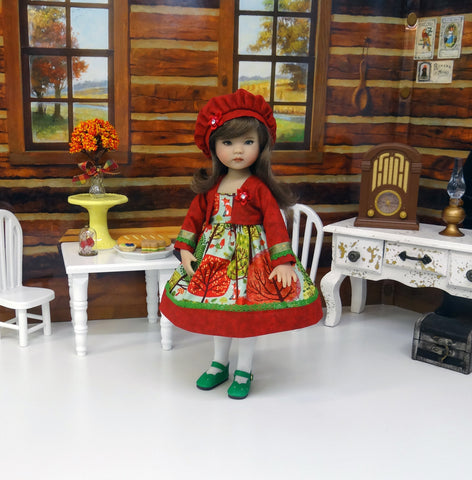 Autumn Forest - dress, jacket, beret, tights & shoes for Little Darling Doll or 33cm BJD
