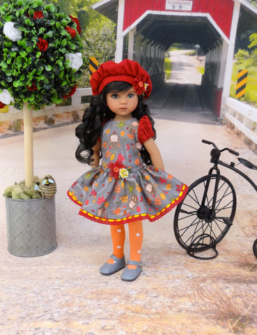 Autumn Hedgehog - dress, beret, tights & shoes for Little Darling Doll or other 33cm BJD