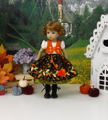 Autumn in Bavaria - dirndl ensemble with tights & boots for Little Darling Doll or 33cm BJD