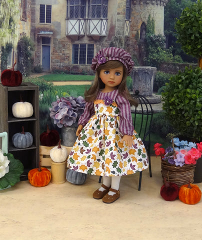 Autumn Leaves - dress, hat, tights & shoes for Little Darling Doll or 33cm BJD