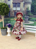 Autumn Pansy - dress, hat, tights & shoes for Little Darling Doll or other 33cm BJD