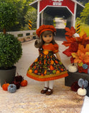 Autumn Pumpkin - dress, beret, tights & shoes for Little Darling Doll or 33cm BJD