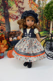Autumn Ride - dress, vest, beret, tights & shoes for Little Darling Doll or 33cm BJD