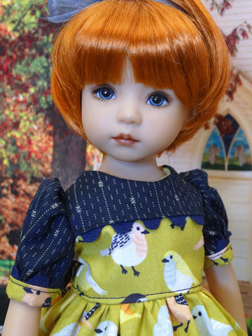 Autumn Robin - dress, tights & shoes for Little Darling Doll or 33cm BJD