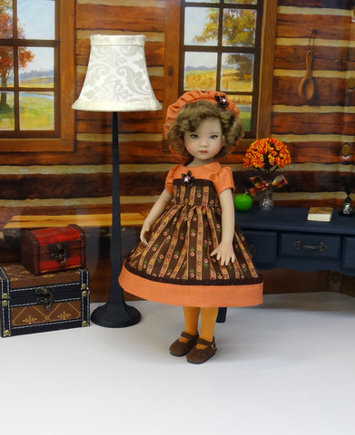 Autumn Spice - dress, hat, tights & shoes for Little Darling Doll or 33cm BJD