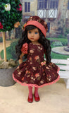 Autumn Sunset - dress, hat, tights & shoes for Little Darling Doll or 33cm BJD