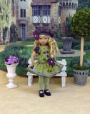Autumn Violas - dress, beret, tights & shoes for Little Darling Doll or other 33cm BJD