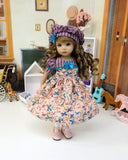 Autumn Watercolor - dress, beret, tights & shoes for Little Darling Doll or other 33cm BJD