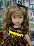 Autumnal Plaid - dress, tights & shoes for Little Darling Doll or other 33cm BJD