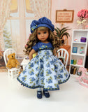 Bachelor Buttons - dress, hat, tights & shoes for Little Darling Doll or 33cm BJD