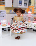 Bake Sale - dress & apron ensemble with tights & shoes for Little Darling Doll or 33cm BJD