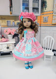 Bake Shoppe - dress, hat, socks & shoes for Little Darling Doll or 33cm BJD