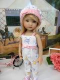 Barnyard - romper, hat, socks & tennis shoes for Little Darling Doll or 33cm BJD