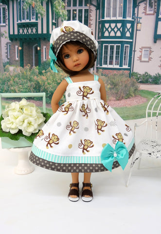 Barrel of Monkeys - dress, hat & sandals for Little Darling Doll or 33cm BJD